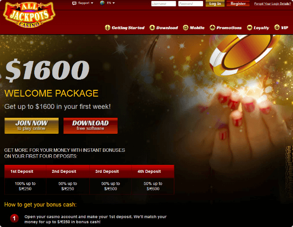 All Jackpots Casino Welcome Package C 1600 100 Free Spins