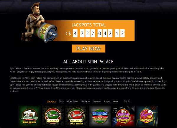 Spin Palace Jackpots