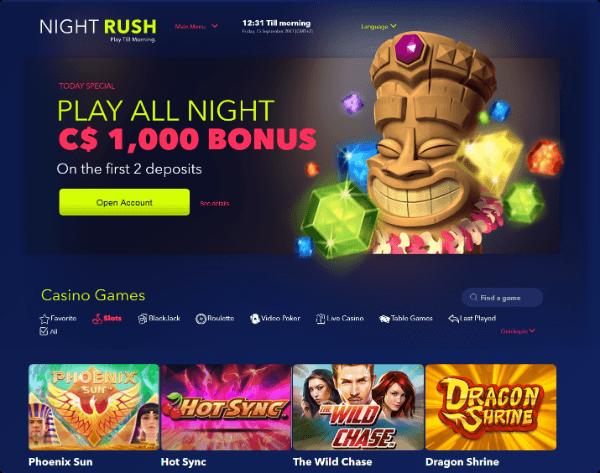 night rush online casino