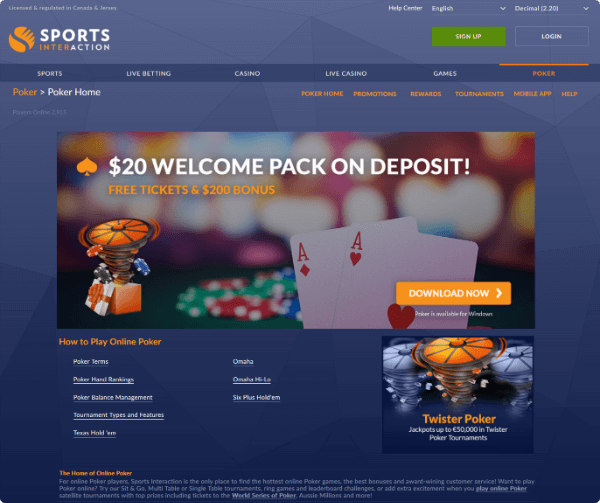 Sports Interaction Poker