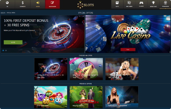 1XSLOTS Casino Special Offers