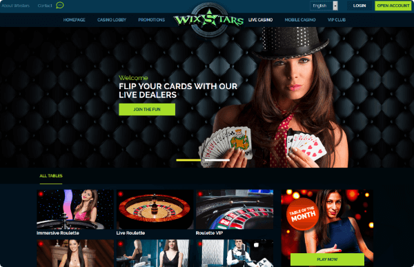 Wixstars Casino live dealers