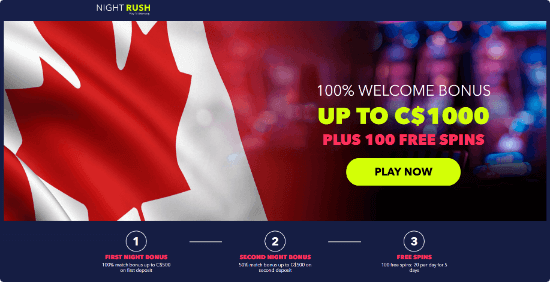 night rush casino free spins