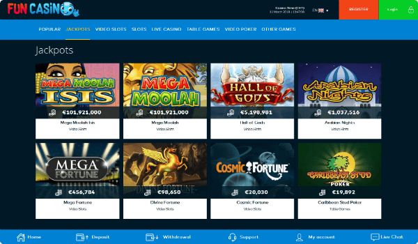 Fun Casino jackpots