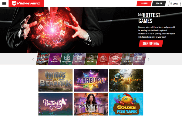 Vegas Hero Casino hottest games
