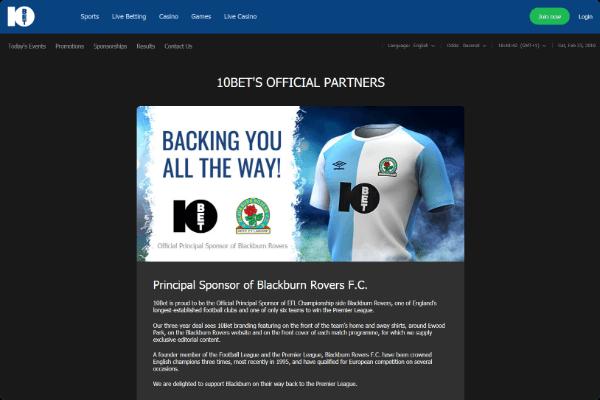 10Bet Sports Sponsor