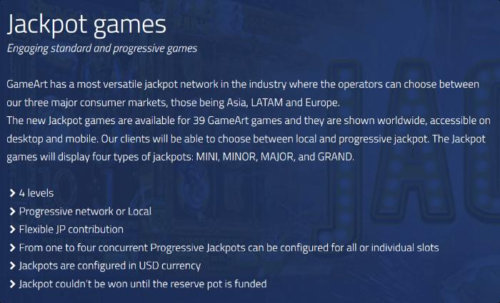 GameArt Jackpot Games