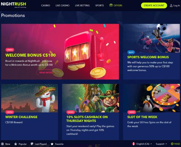 NightRush Casino Promotions